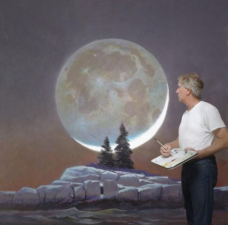 """Greg Mort painting """"Island Worlds"""" in his Port Clyde studio"""