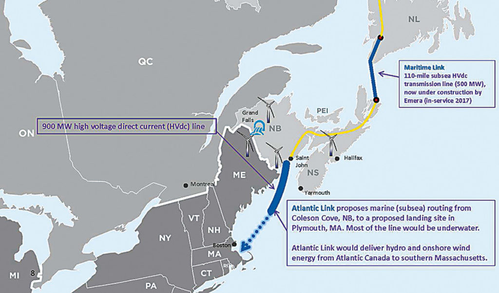 The map shows the approximate route the undersea electric cable will follow from hydro and wind power projects in northern Maine