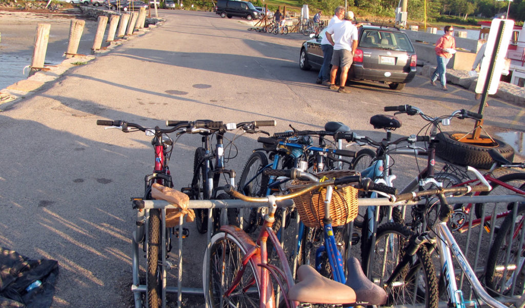 Bicycles in a rack on Chebeague Island's Stone Pier.