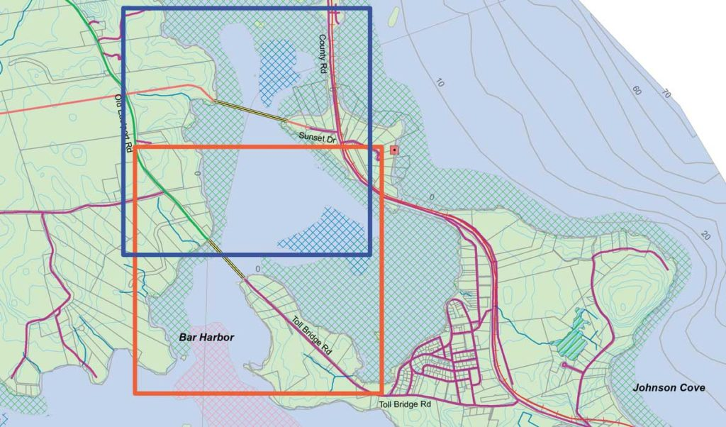 The map shows two possible routes for a new bridge linking Eastport (formerly Moose Island) to the mainland. The route shown in the blue box