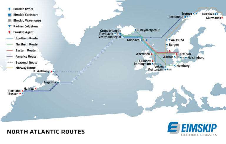 A map showing the ports at which Eimskip calls.