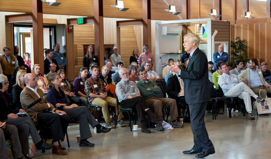 Sen. Angus King speaks at the Island Institute's energy conference in South Portland on Nov. 6.