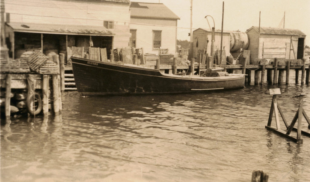 A lobster boat in an early 20th century image.