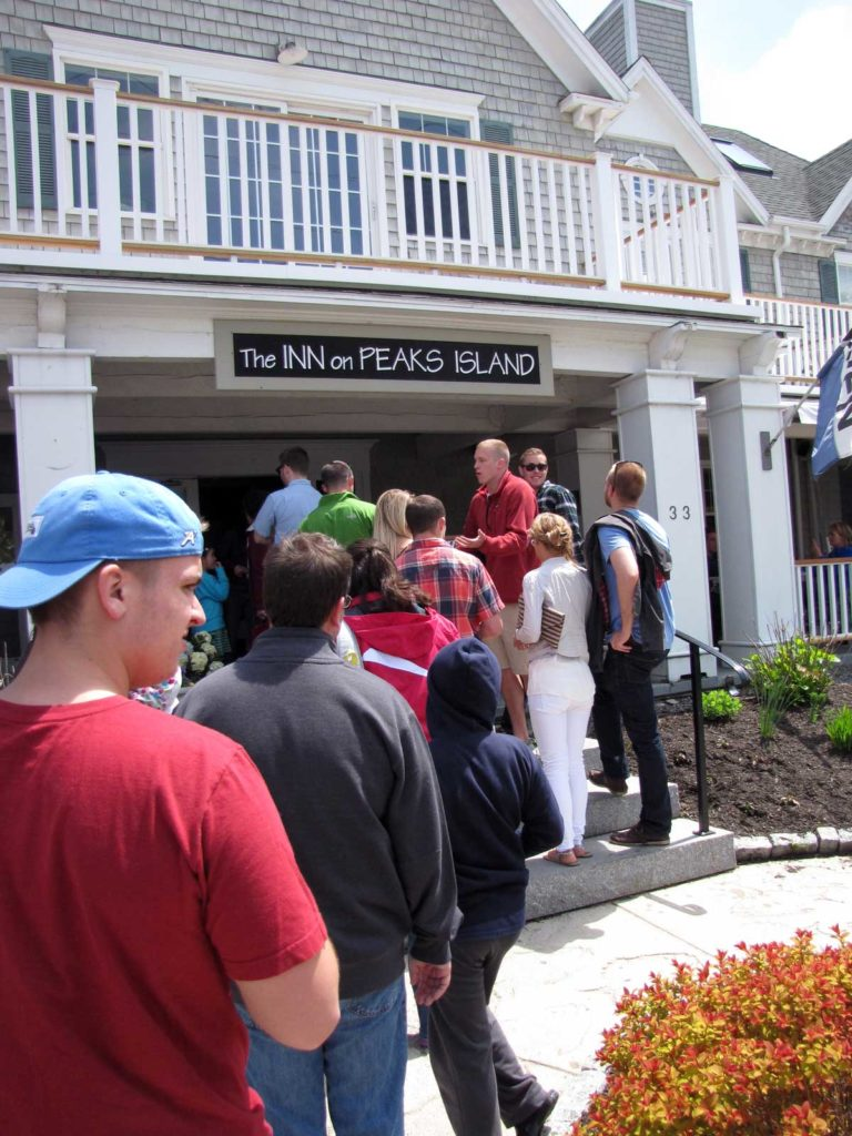 A line forms outside the Peaks Island Inn during Memorial Day Weekend 2014.