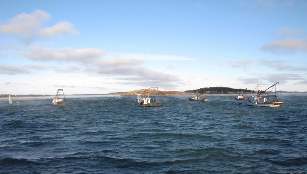 Boats rigged for scallop dragging moored in Lubec.
