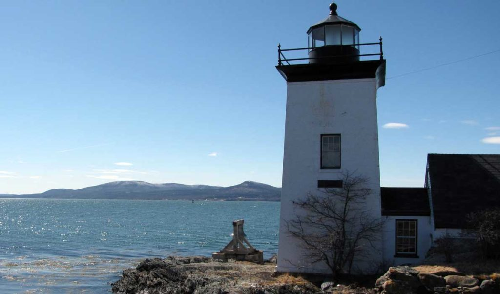 Grindle Point Lighthouse with the Camden Hills to the west.