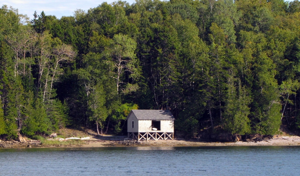 A boat shed on the eastern shore of Islesboro.