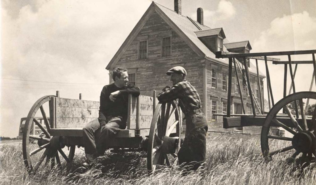 This untitled photograph by Kosti Ruohomaa shows Andrew Wyeth and Alvaro Olson at a hayrack.
