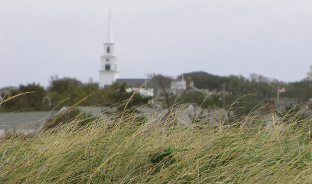 A view of Nantucket village from the shore.