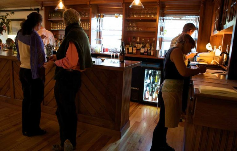 The bar at Nebo Lodge on North Haven.