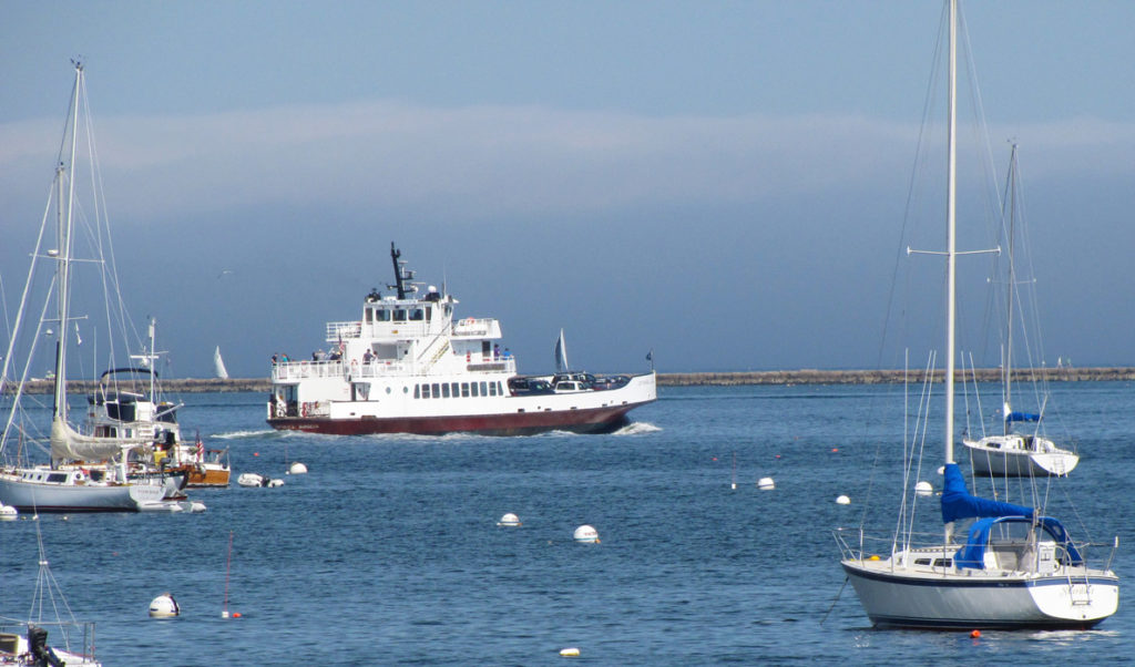Ferry crosses Rockland harbor.
