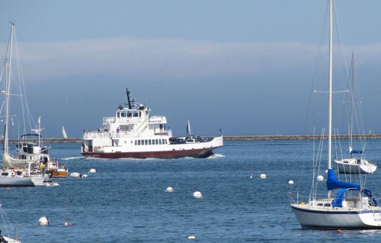 Ferry crosses Rockland harbor.