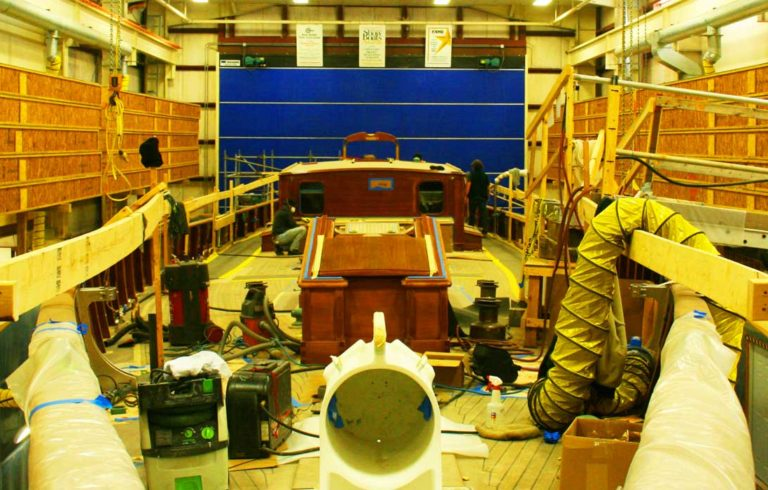 A boat under construction at Hodgdon Yacht.
