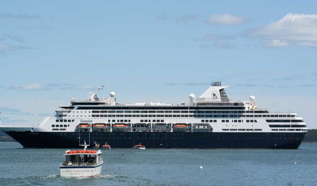 A cruise ship off Bar Harbor.