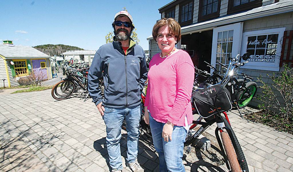 John Cabe and Anne Watson at the bicycle rental store in Bar Harbor.