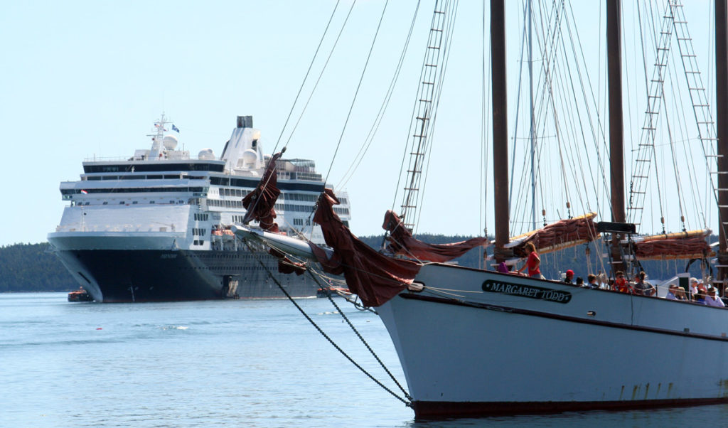 The Margaret Todd obscures the view of a cruise ship off Bar Harbor.