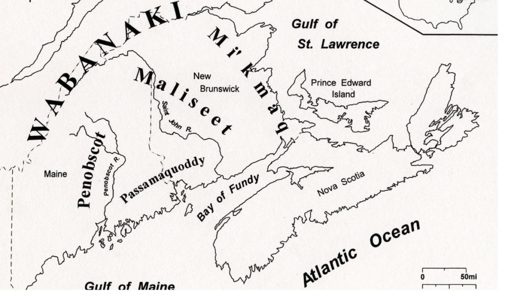 This map depicts the Wabanaki homeland in the 19th century.