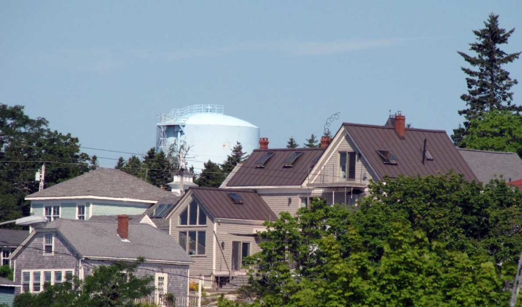 Stonington's water tower is visible above rooflines.