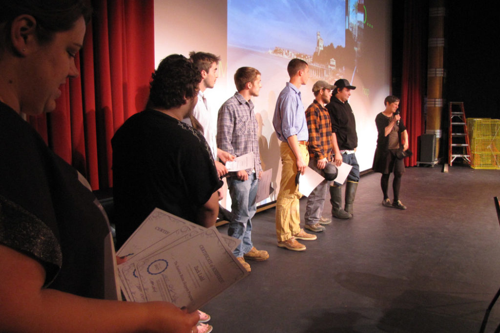 Students are recognized at an Eastern Maine Skippers program event in Ellsworth.