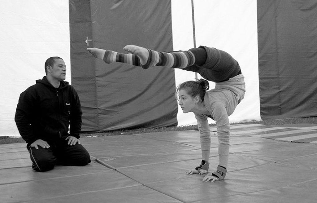 Sellam El Ouahabi teaching circus skills.