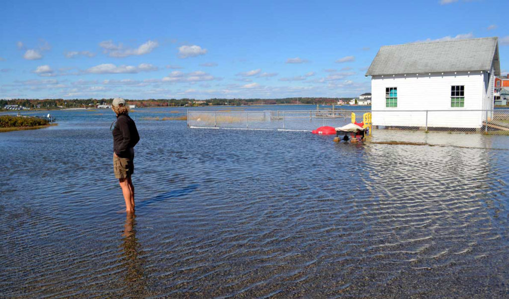 An especially high tide in Wells a few years back shows the Maine coast's vulnerability to rising sea levels.