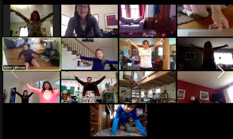The TLC goes through its morning exercises with everyone logging in from home.