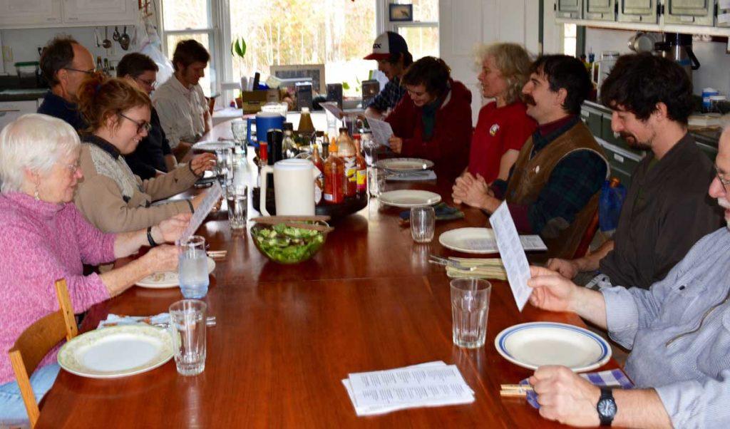 The communal dinner.