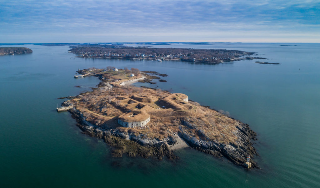 An aerial view of House Island.