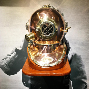 "A diving helmet is among the artifacts included in the Maine Maritime Musuem's exhibit, ""Shipwrecks and Salvage."" PHOTO: COURTESY MAINE MARITIME MUSEUM"