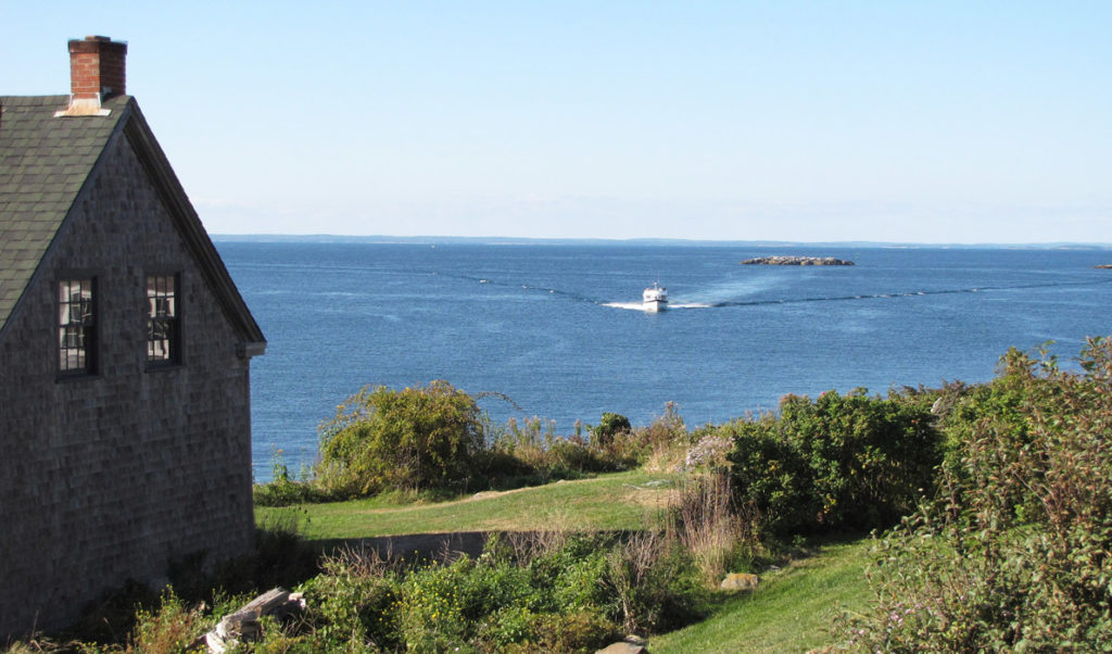 Mailboat approaches Monhegan.