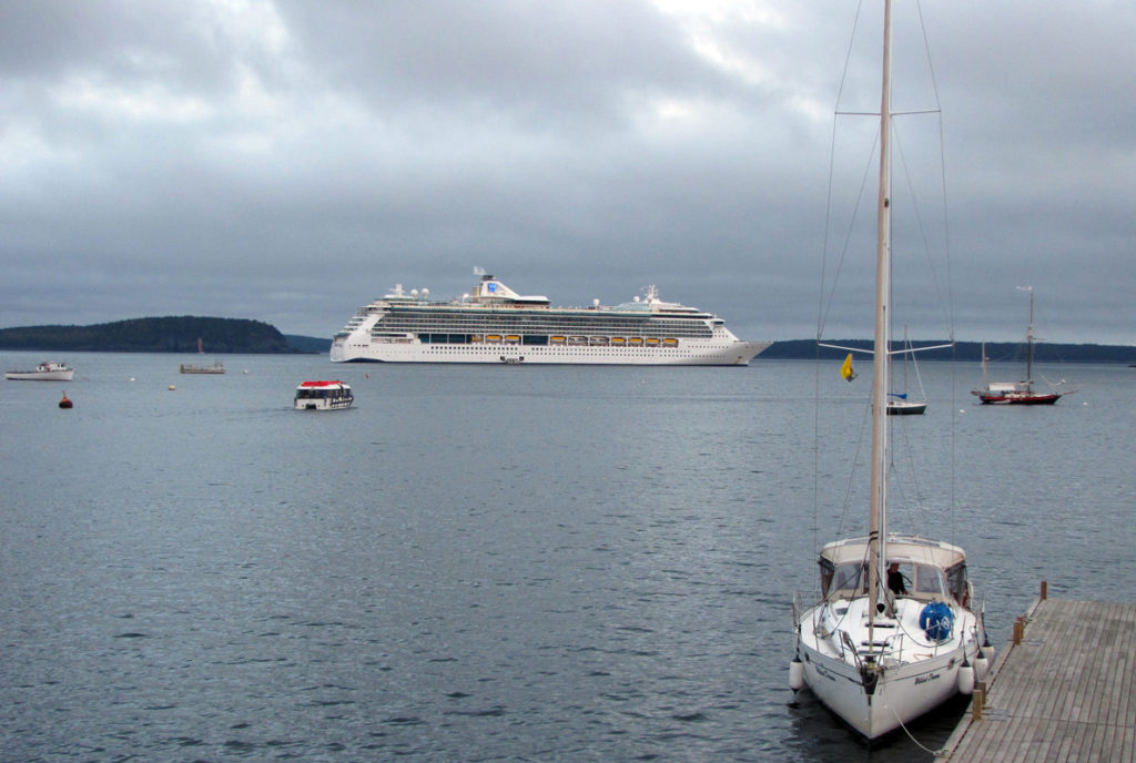 A tender carries passengers back to their cruise ship from Bar Harbor's town landing.