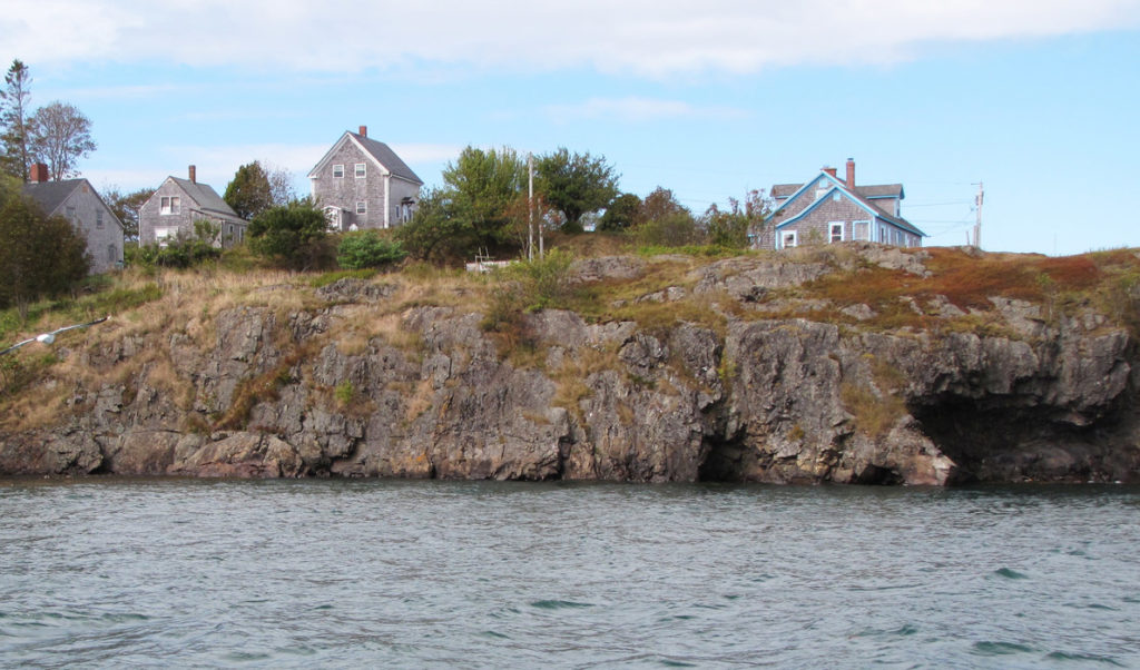 Houses on a rock bluff in Eastport.