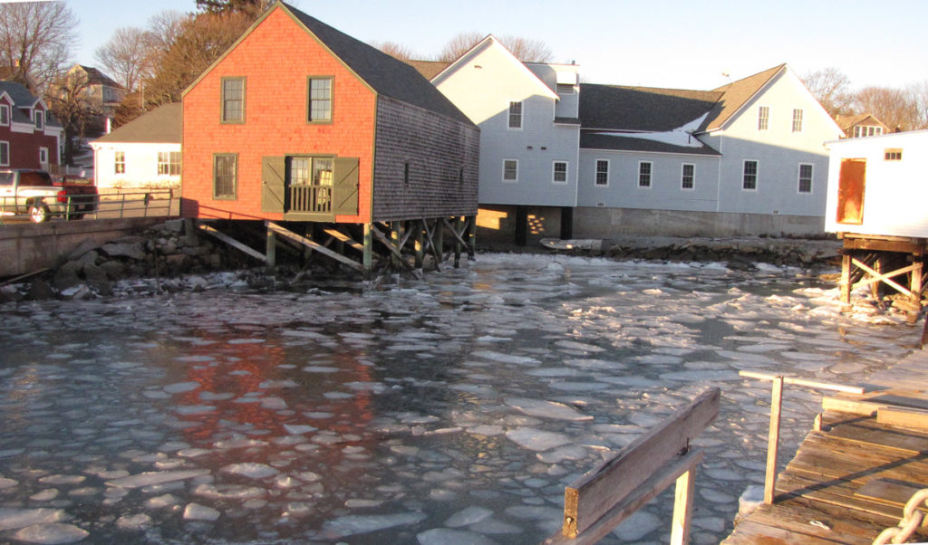 Ice on North Haven's public landing area in January 2014.