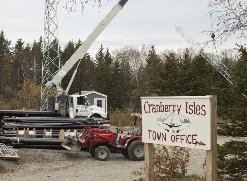 Axiom Technologies installs a tower on Islesford to link the broadband infrastructure between Great and Little Cranberry Islands.