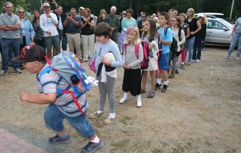 Students were eager to enter the reopened Longfellow School on Great Cranberry Island last September.