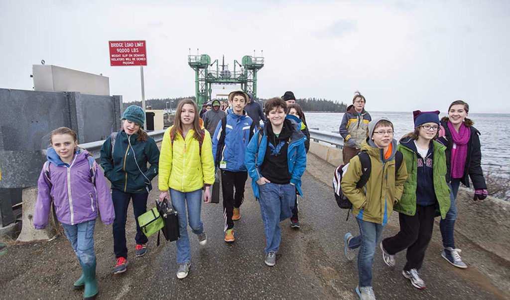 Students disembark from the ferry on Islesboro.