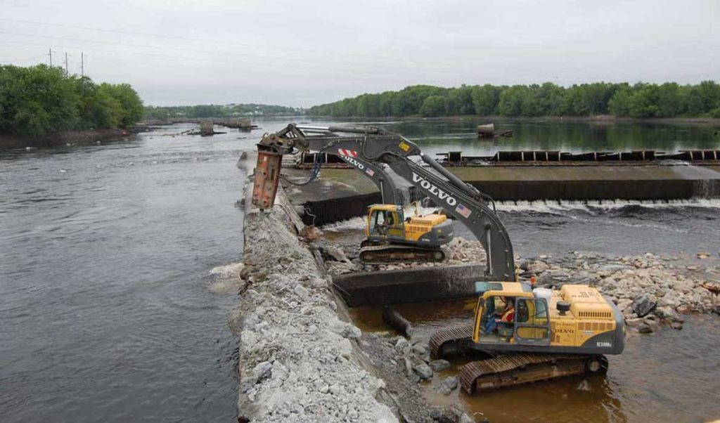 Dam removal on the Penobscot River.