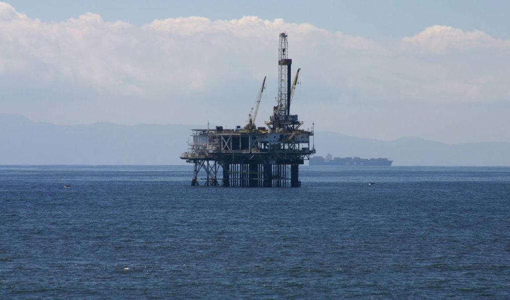 An oil rig off the California coast.