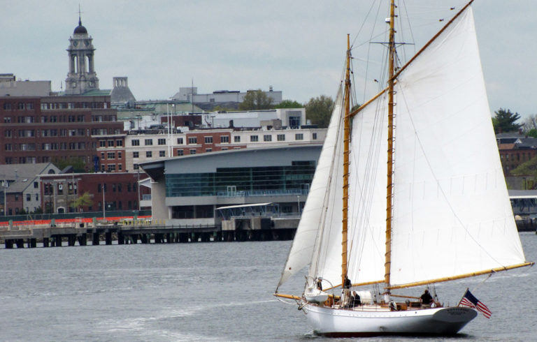 A sailboat approaches Portland's waterfront.