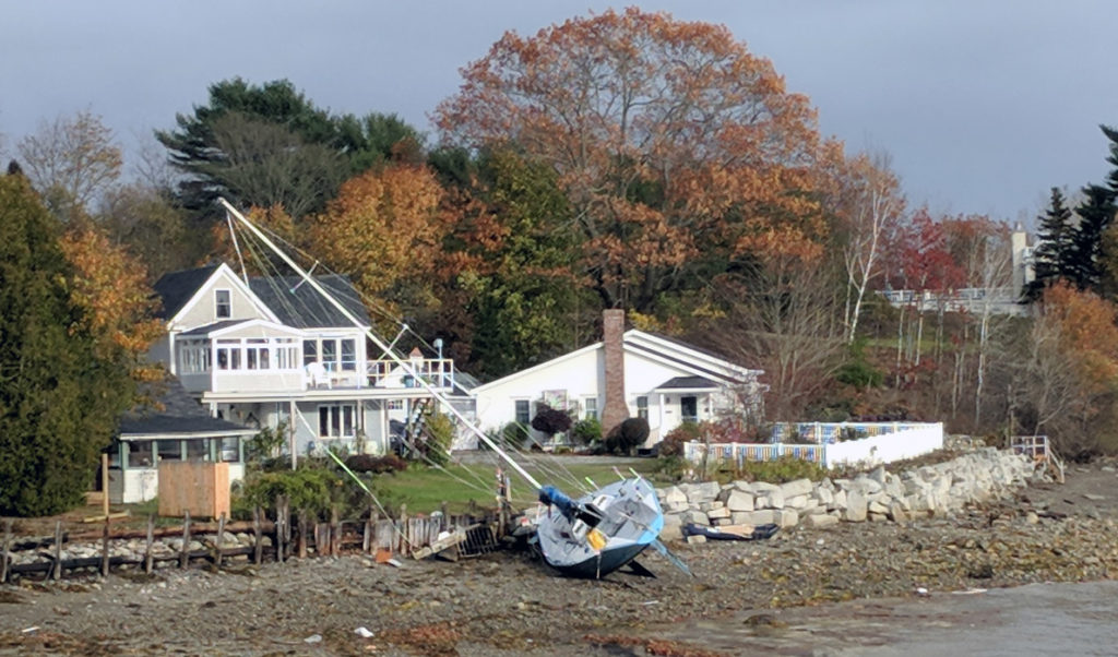 A sailboat that broke free during the Oct. 30 story on the shore in Belfast.