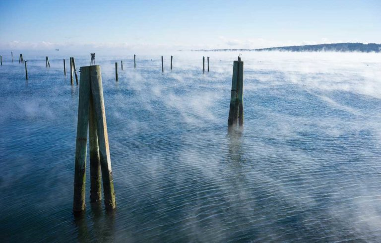 Sea smoke captured in Rockland earlier in the winter of 2014-2015.