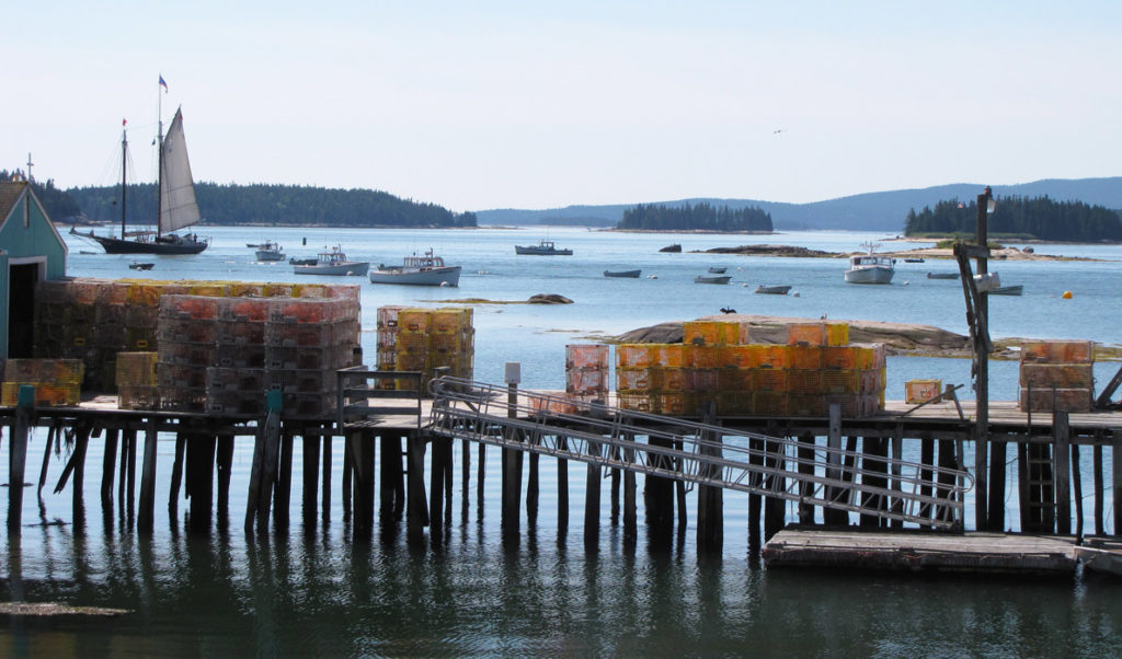 Traps stacked on a pier in Stonington.