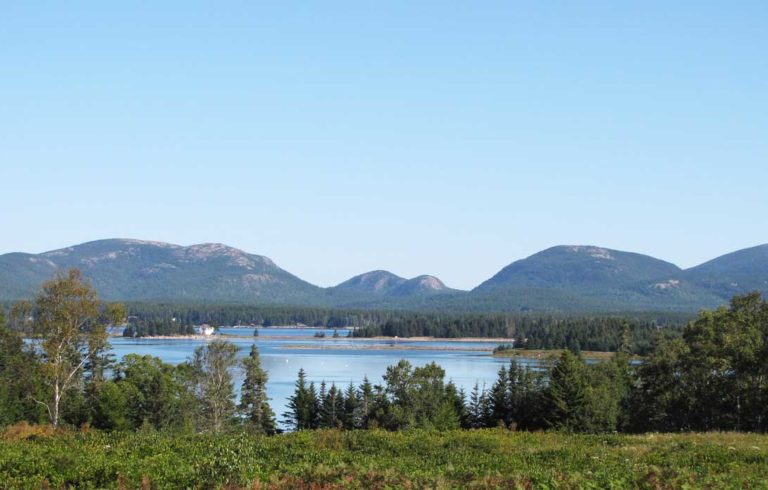 A view of Mount Desert Island and Acadia National Park from Great Cranberry Island.