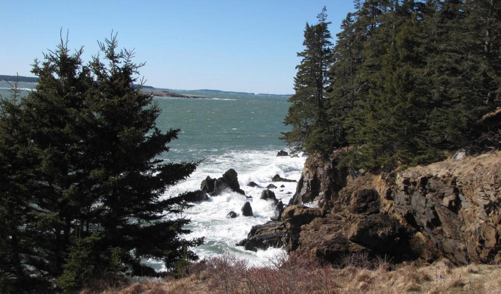 Waves crashing on the Swan's Island shore.