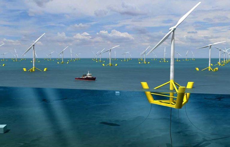 Artist rendering of floating wind turbines.